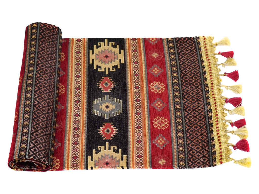 Table Runner Black Red Colour
