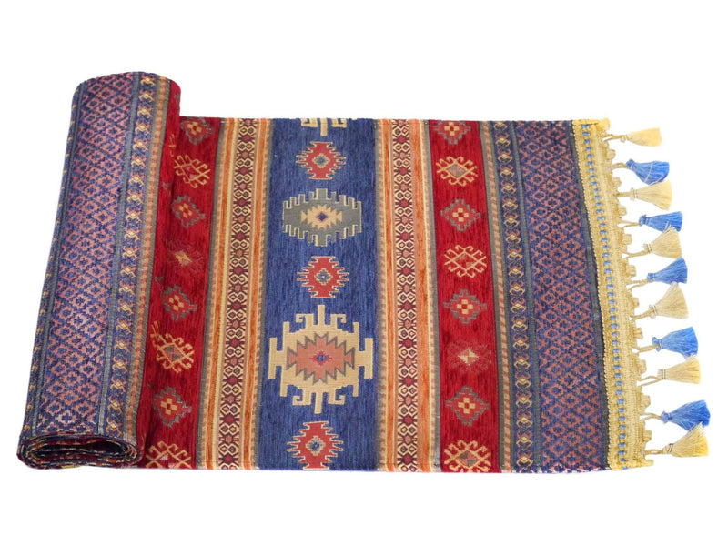 Table Runner Aztec, Light Blue Red