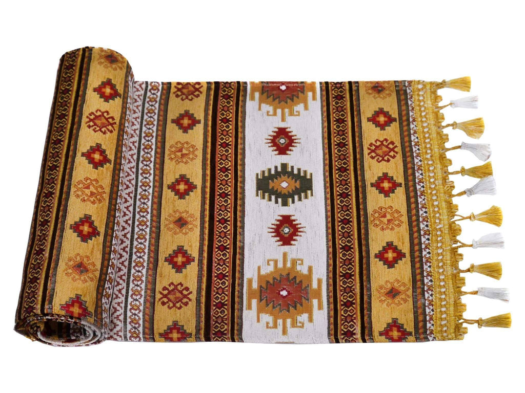 Table Runner Golden Brown White Colour