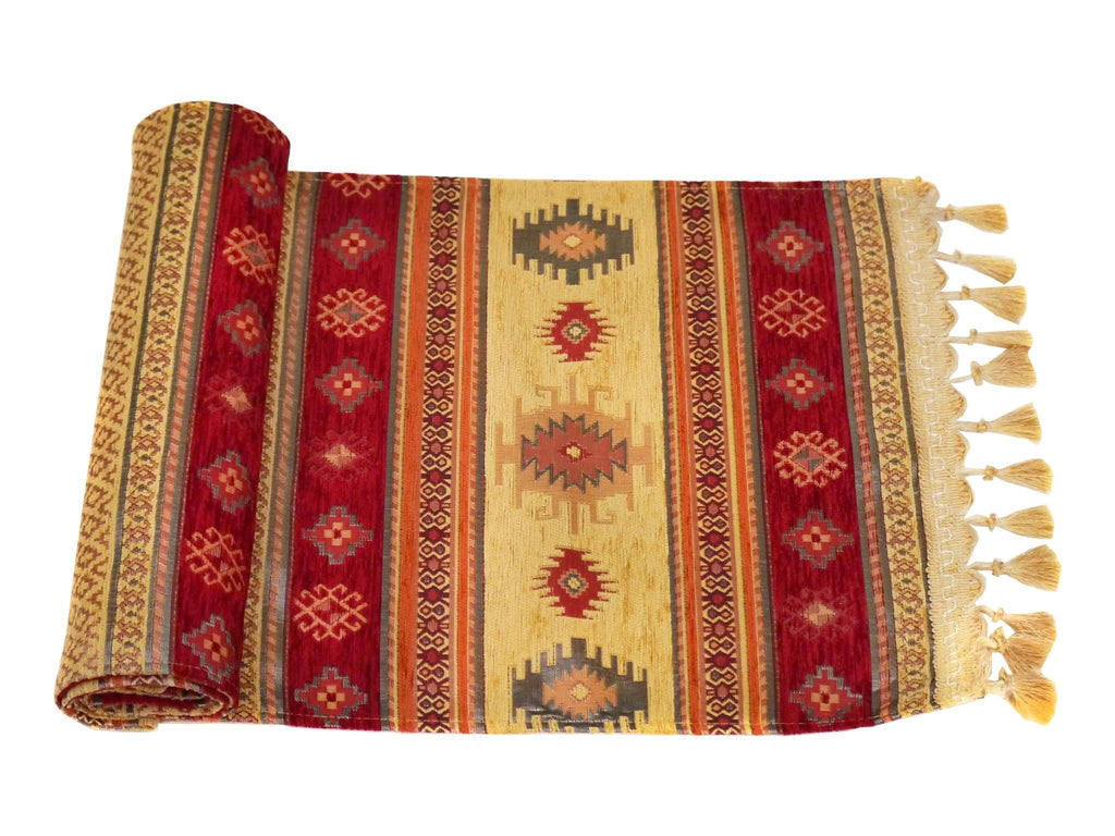 Table Runner Golden Red Colour