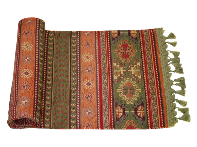 Turkish Table Runner Tulip Collection Green