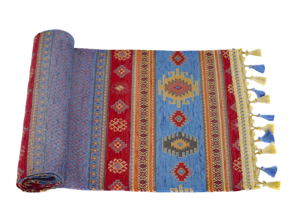 Table Runner Blue Red Colour