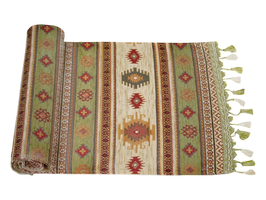Table Runner Green Cream Colour
