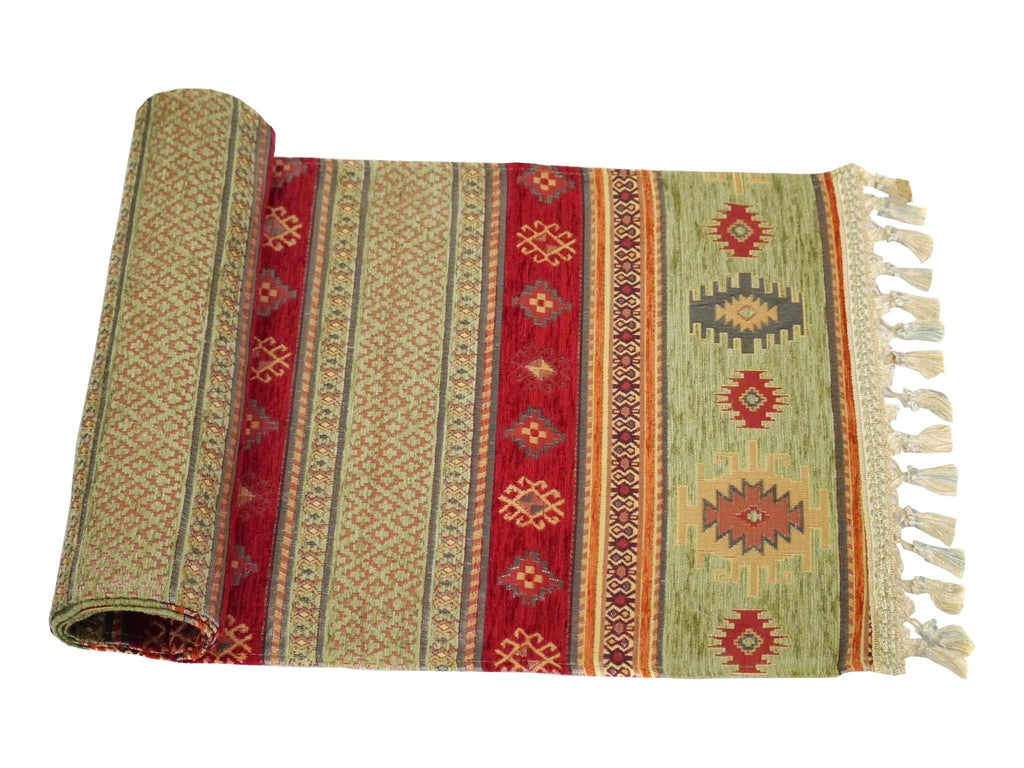 Turkish Table Runner Green Red Colour