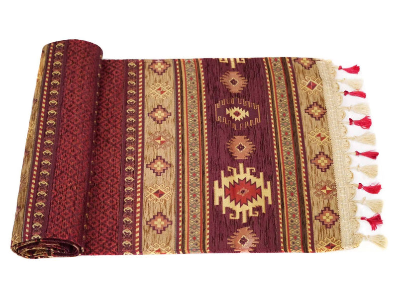 Turkish Table Runner Brown Maroon Colour
