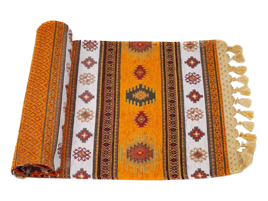 Turkish Table Runner Orange White Colour