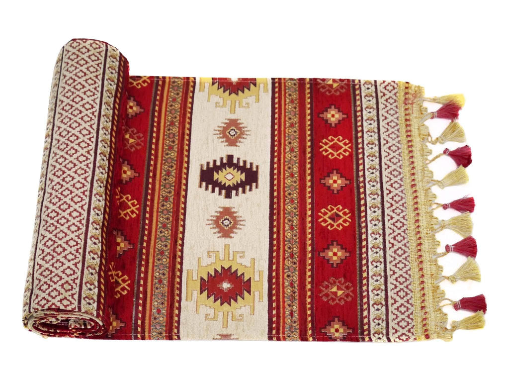 Turkish Table Runner Red Cream Colour