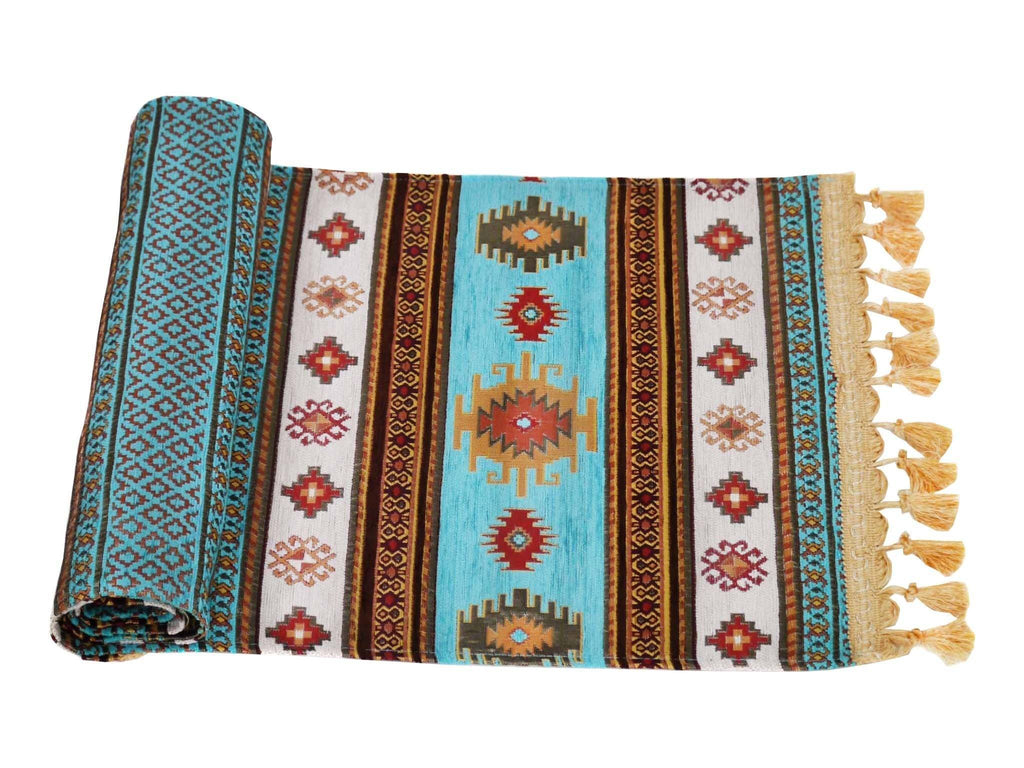 Turkish Table Runner Turquoise White Colour