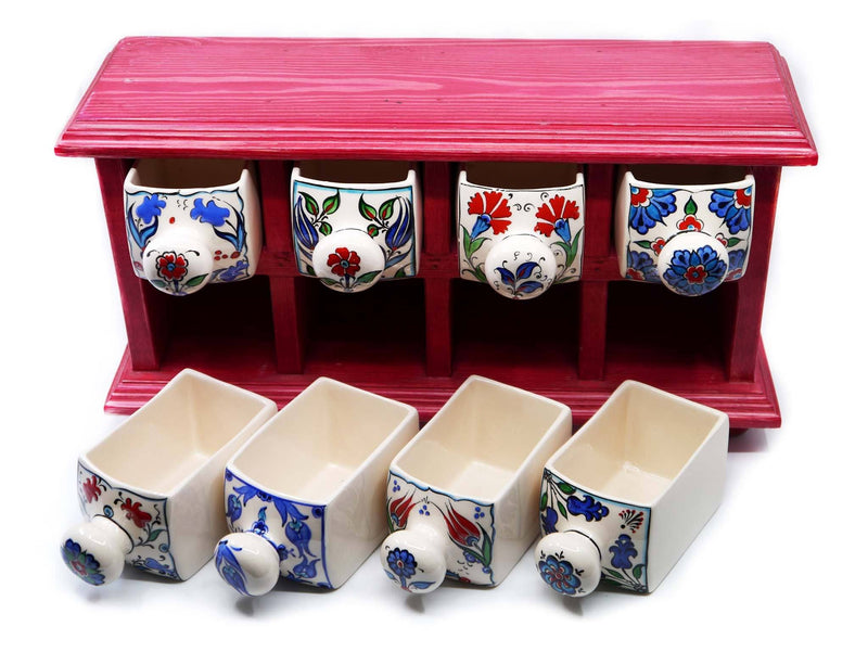 Handmade Ceramic Drawers Box Red