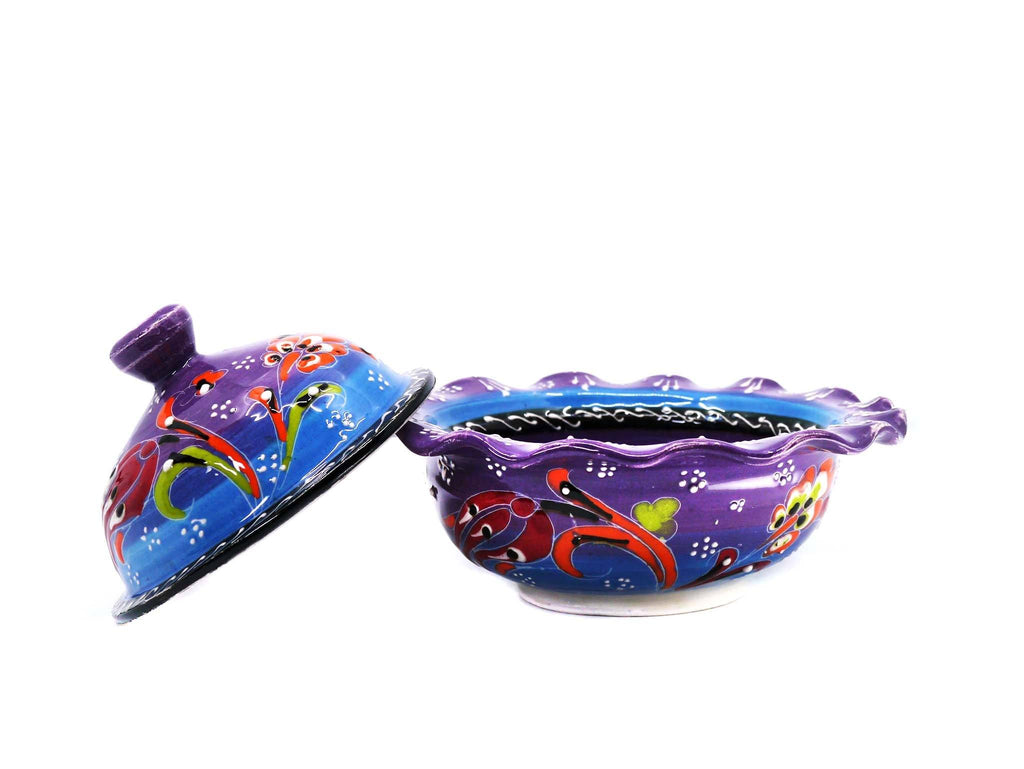 Ceramic Sugar Bowl Flower Collection Purple Blue
