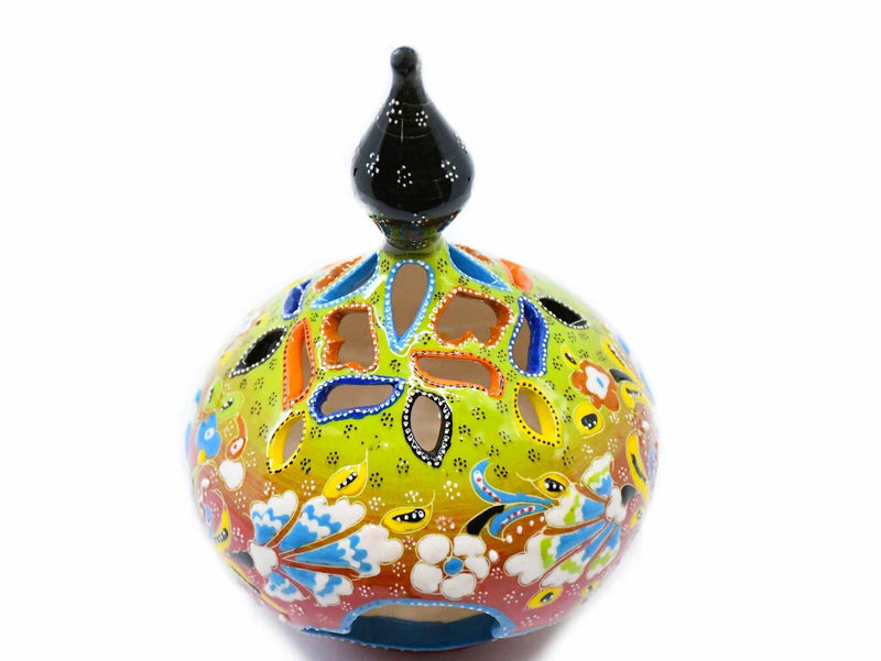 Turkish Candle Holder Large Pear Flower Green Red