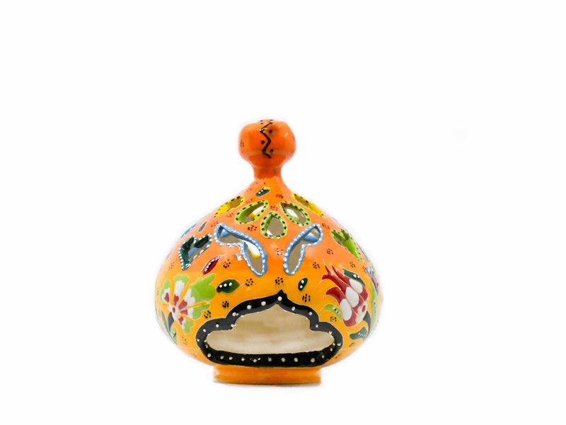 Turkish Candle Holder Pear Orange Flower