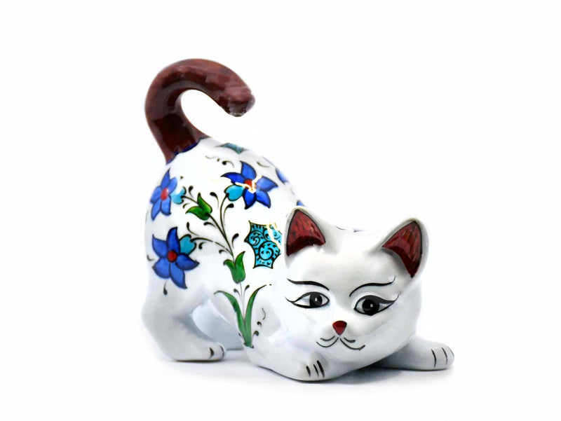 Turkish Cat Figurine Brown Tail Up Iznik