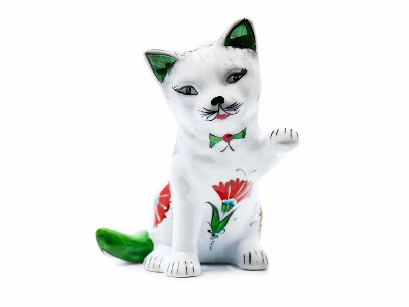 Turkish Cat Figurine Playful Green Tail Iznik