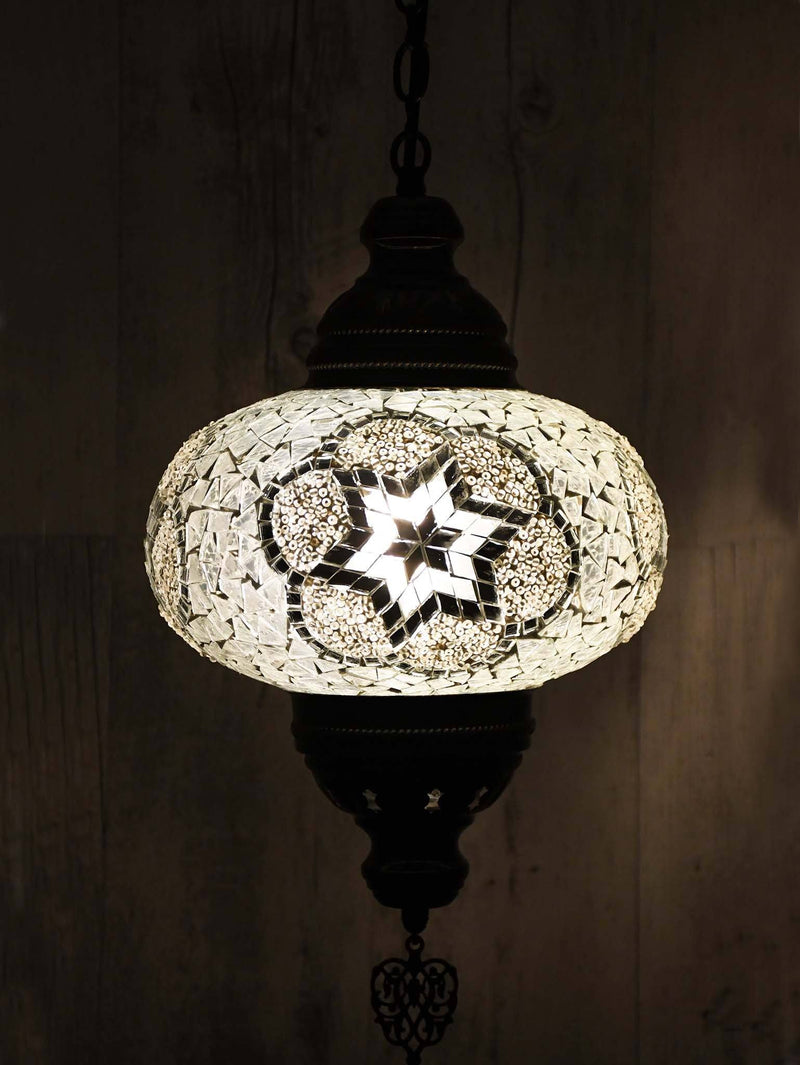 Turkish Pendant Light Blue Mosaic Star Circle B5