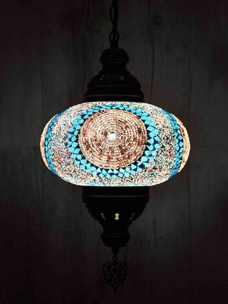 Turkish Pendant Light Green Mosaic Sun Pattern B4
