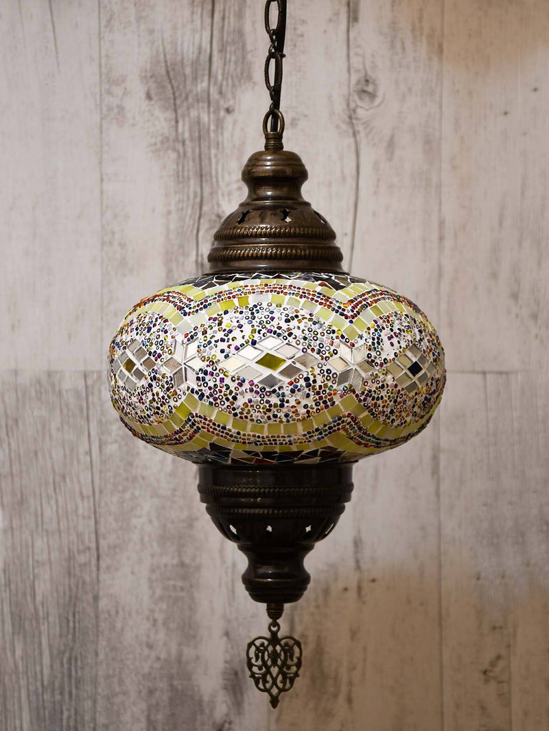 Turkish Pendant Light Colourful Yellow Round
