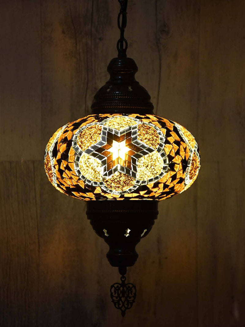 Turkish Pendant Light Mosaic Red Ziczac B4