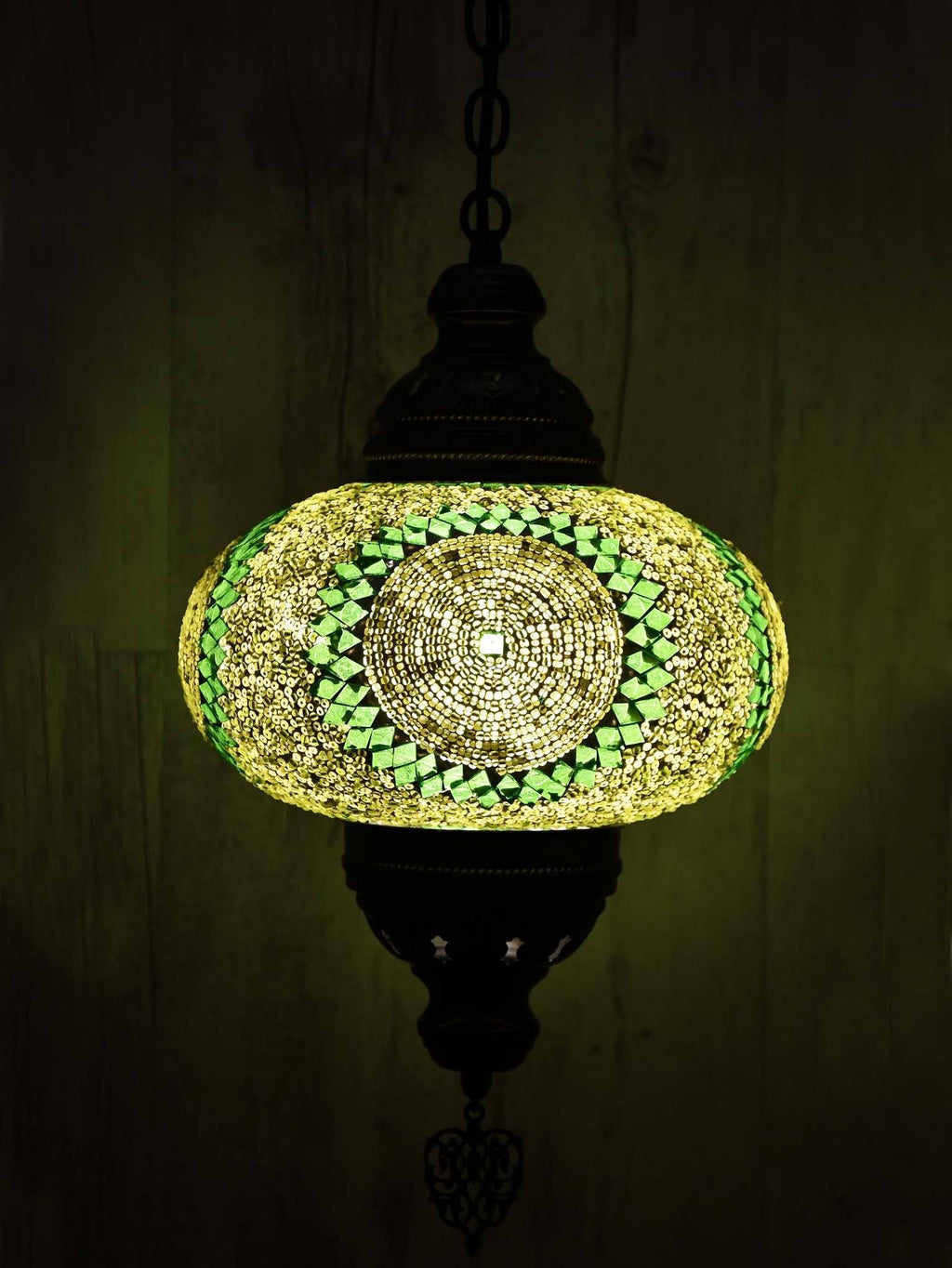 Turkish Pendant Light Green Mosaic Sun