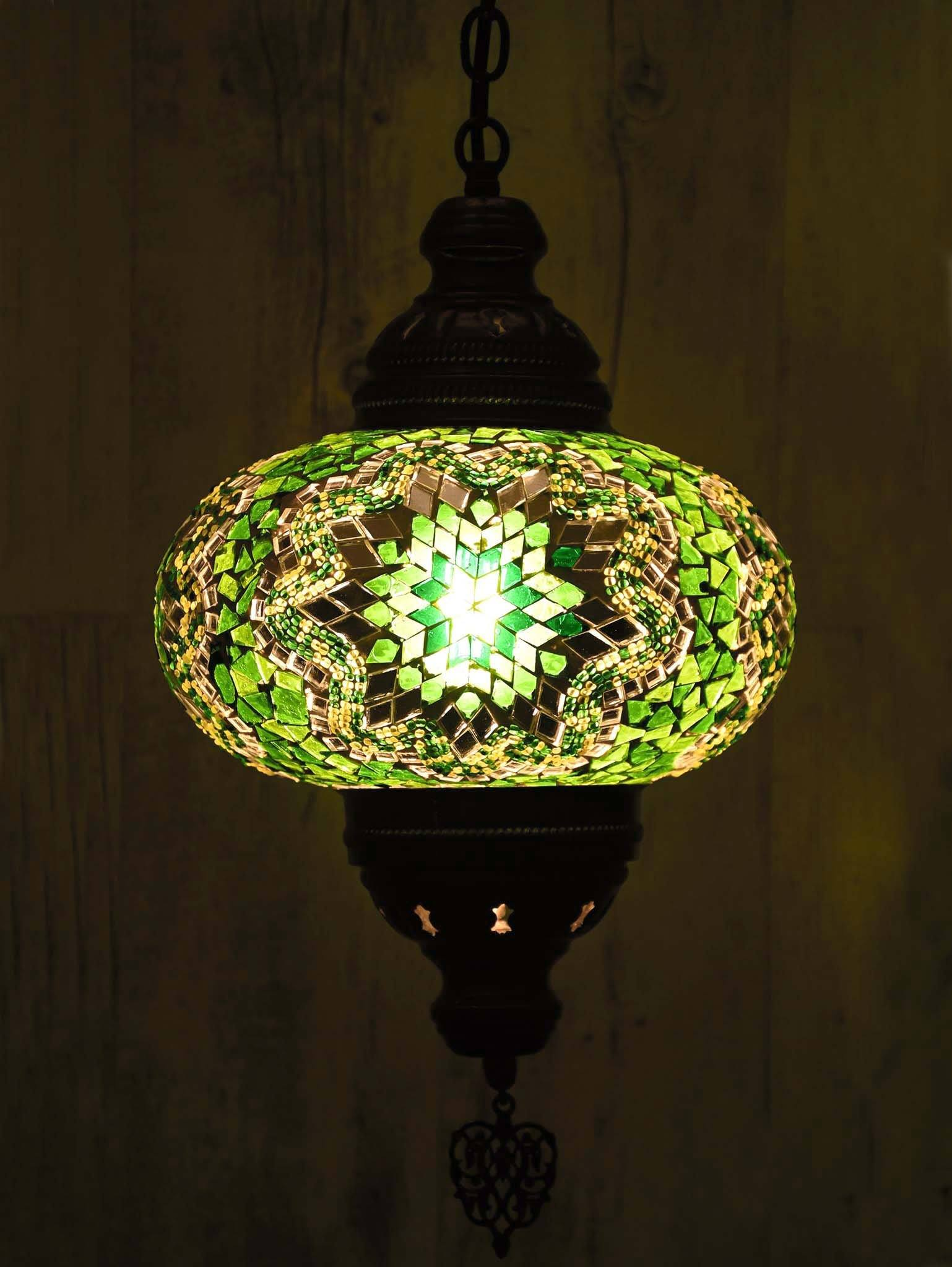 Turkish pendant light green mosaic star b4
