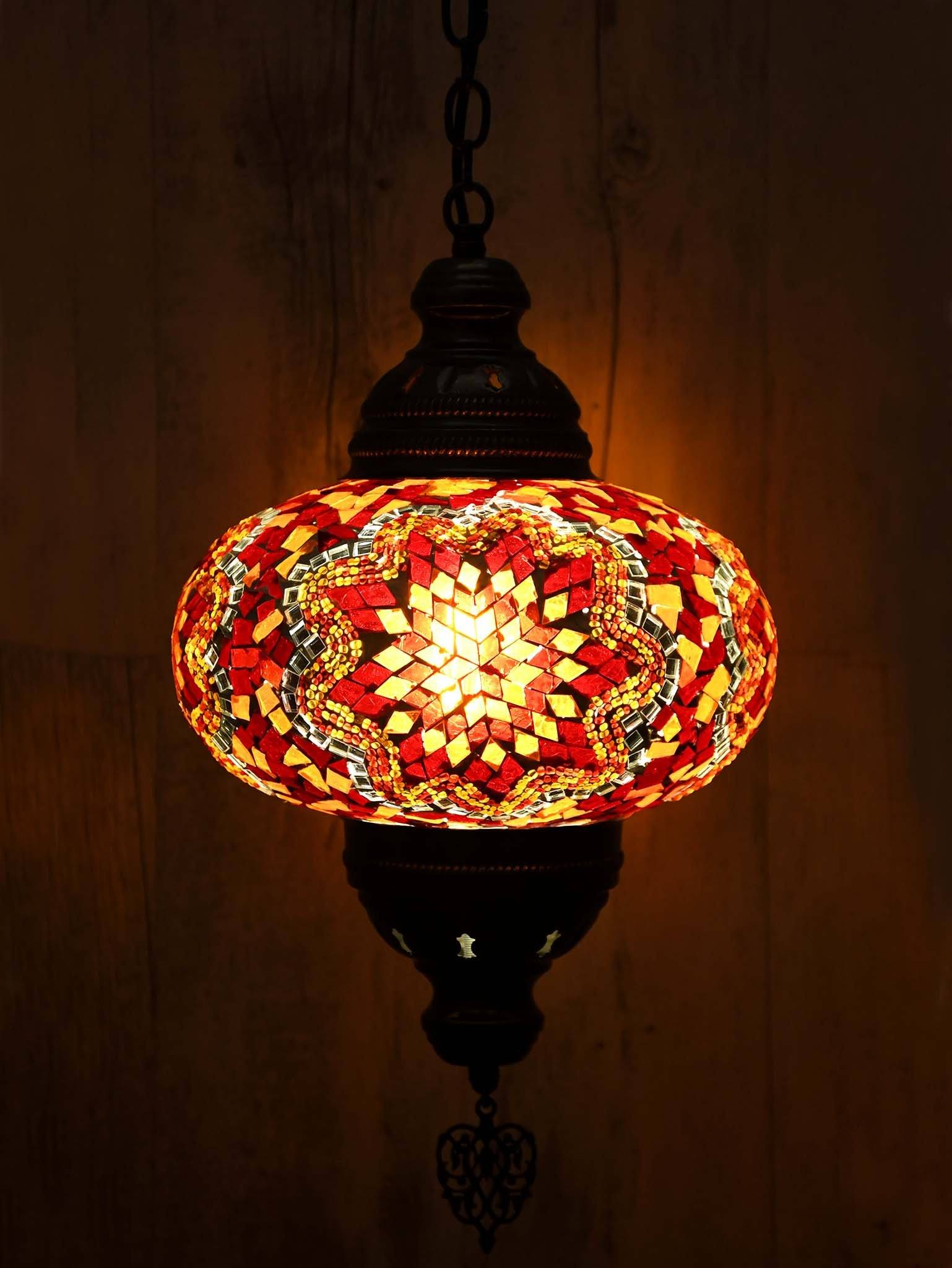 Turkish pendant light mosaic red orange b4