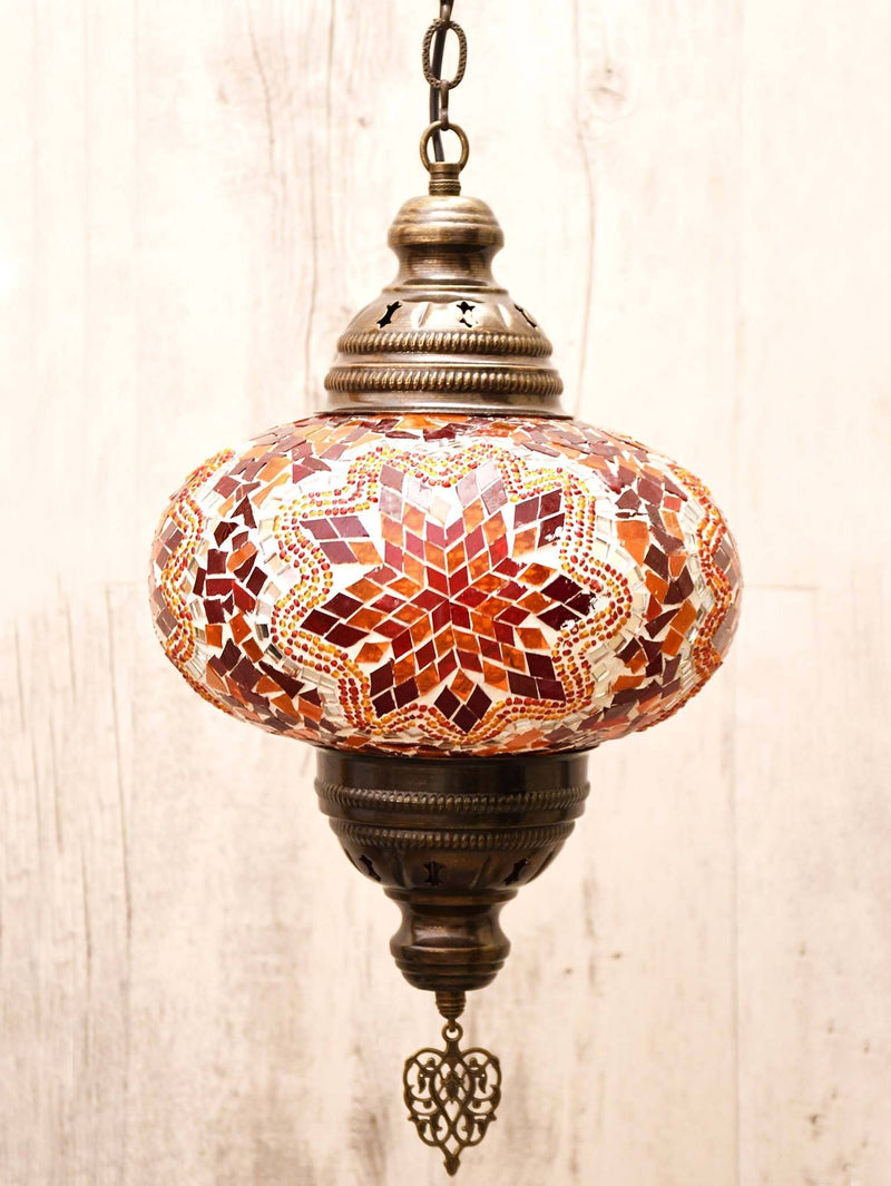 Turkish Ceiling Light Chain Fitting Red Orange