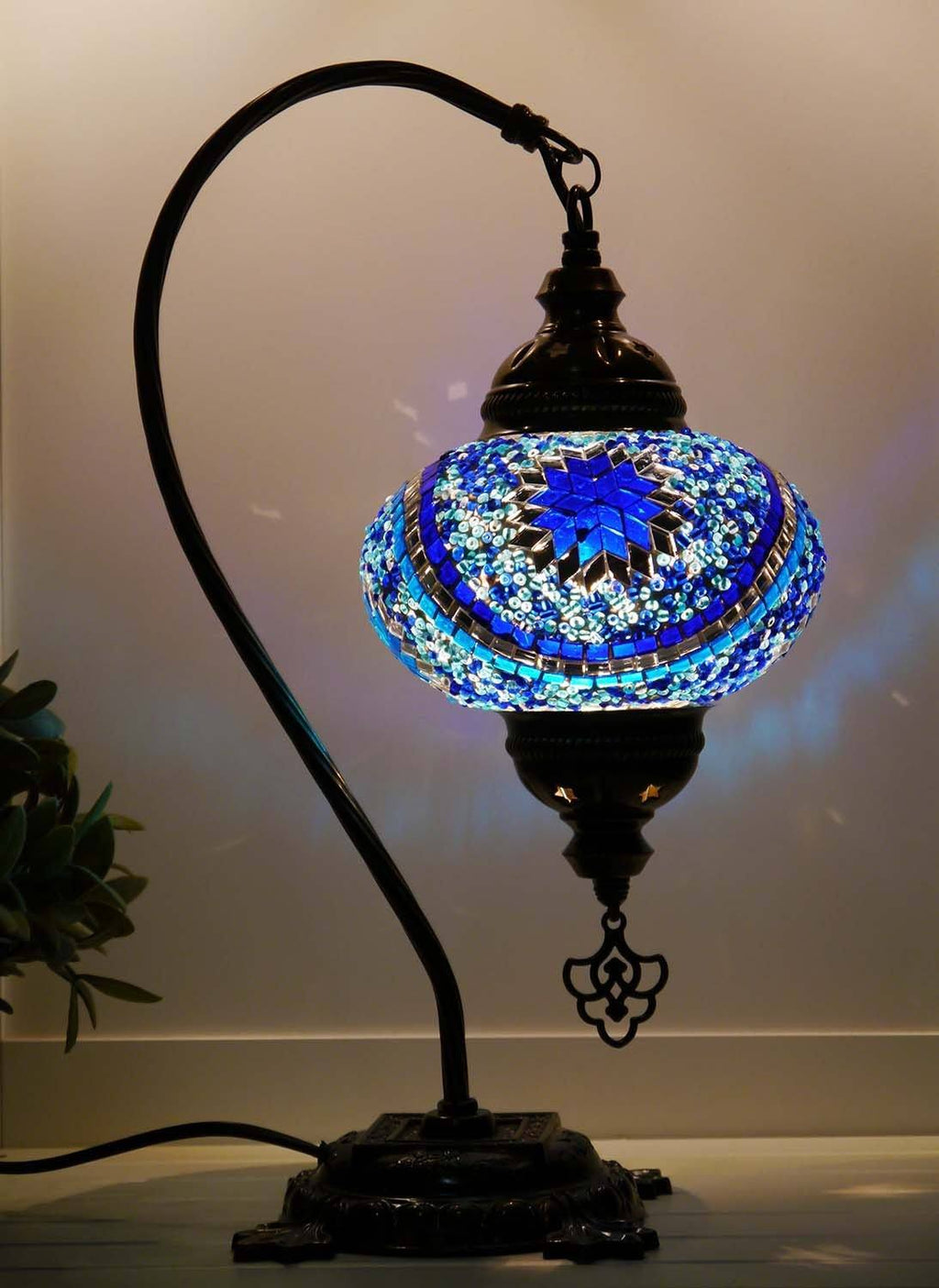 Turkish Lamp Blue Aqua Round Star
