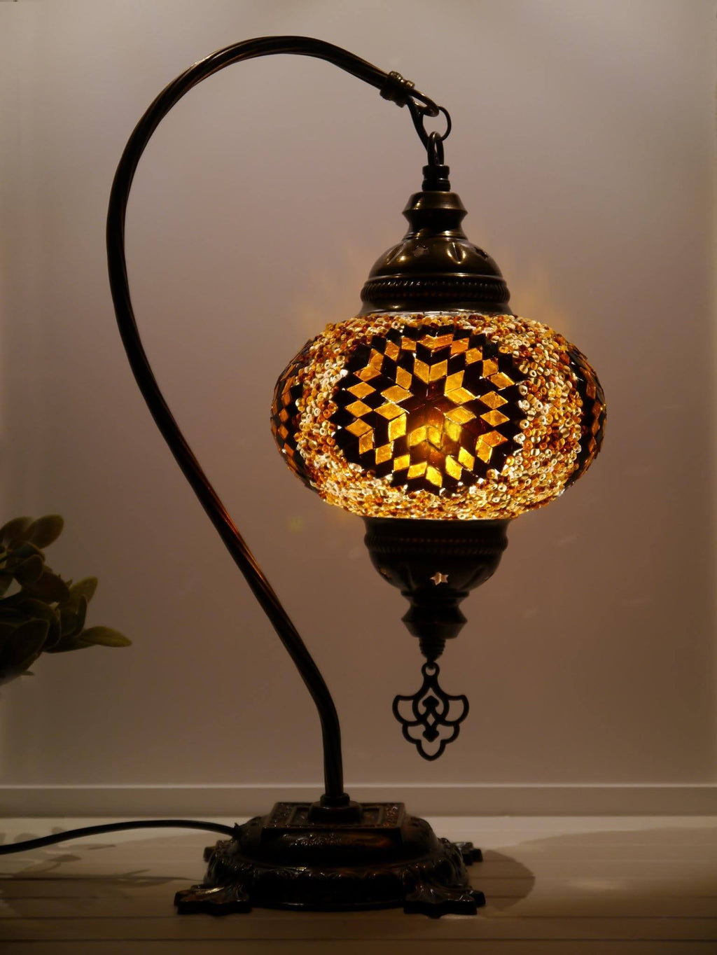 Turkish Bedside Lamps Brown Yellow Colour