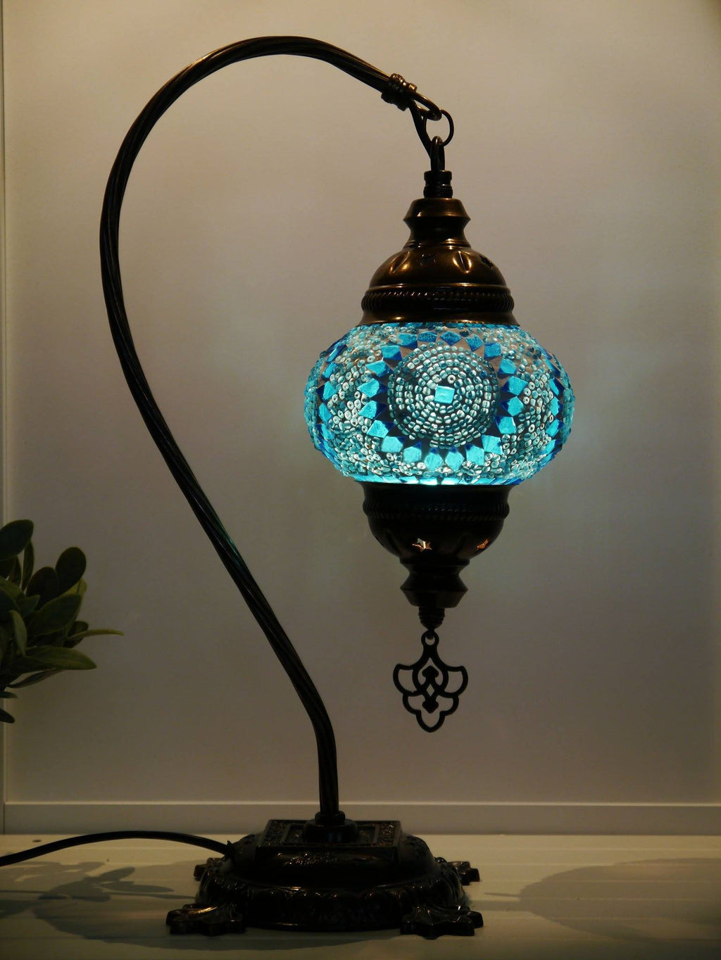 turkish mosaic table lamp aqua colour