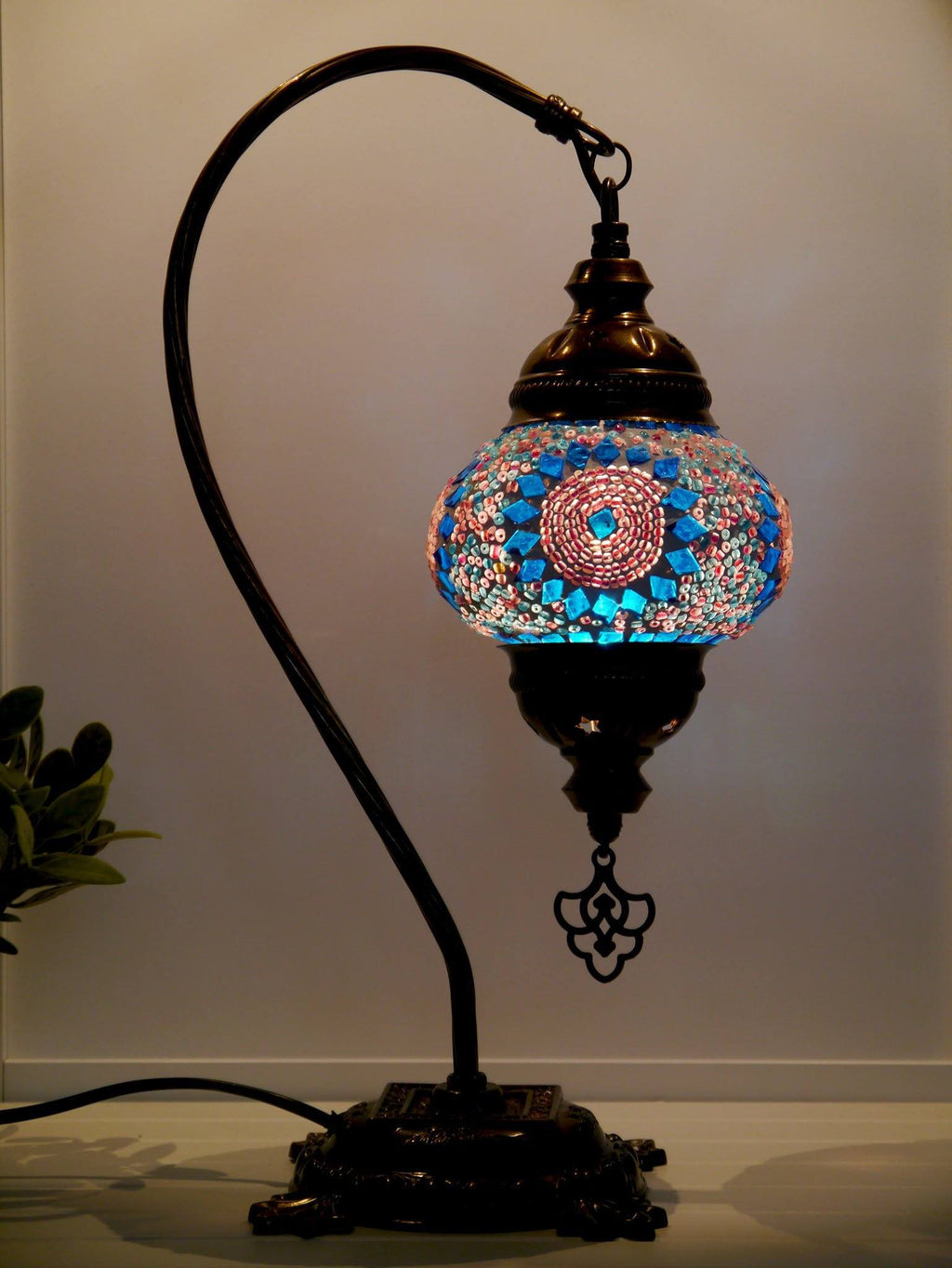 Turkish Lamp Hanging Aqua Pink Circle Beads