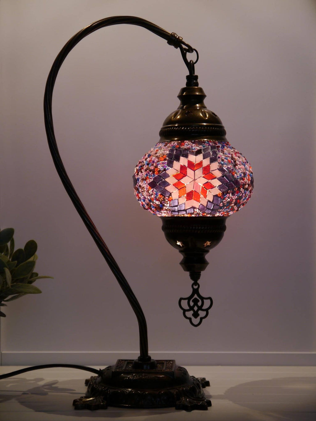 Turkish Lamp Hanging Purple Maroon Star