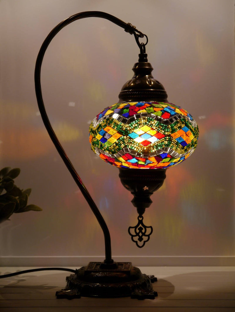 Turkish Lamp Multicoloured Green Mosaic Kilim
