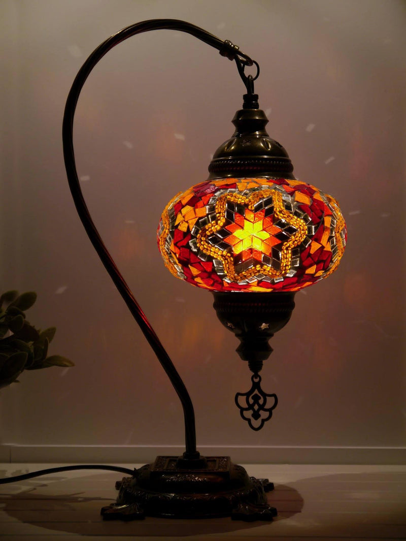 Turkish Lamp Red Orange Mosaic Star