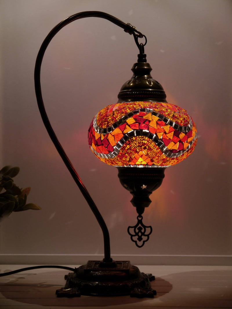 Turkish Lamp Red Orange Ziczac