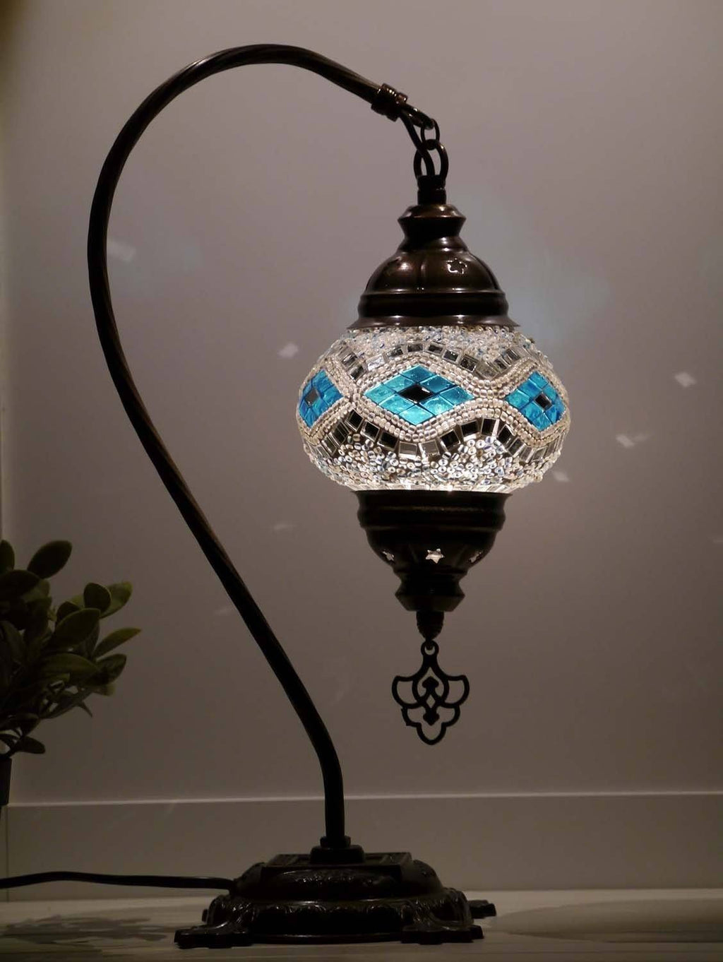 turkish mosaic lamp white aqua colour australia