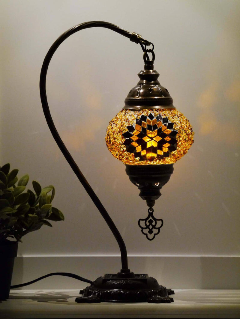 Turkish Lamp Aqua Pink Flower Star
