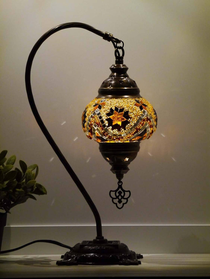 Turkish Lamp Standing Golden Brown Ziczac