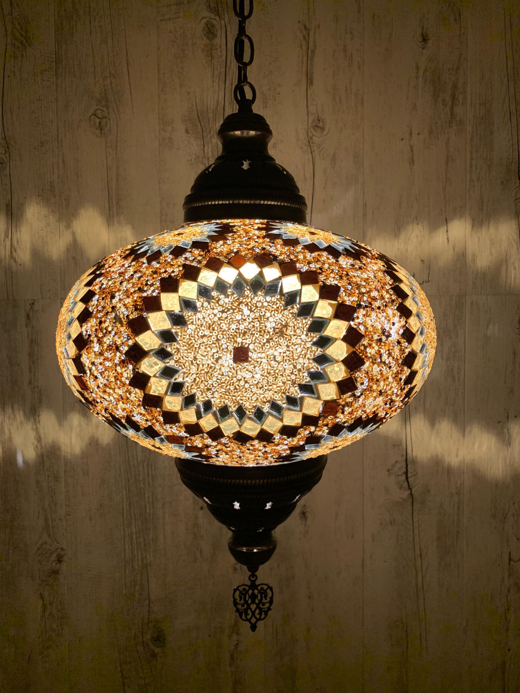 Turkish Pendant Light Golden Brown Circle