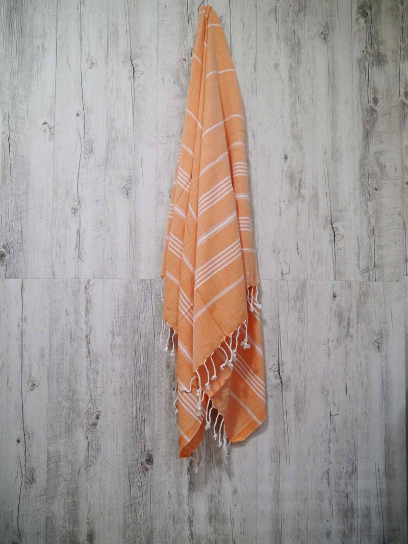 Turkish Towel Cotton Classic Striped Orange