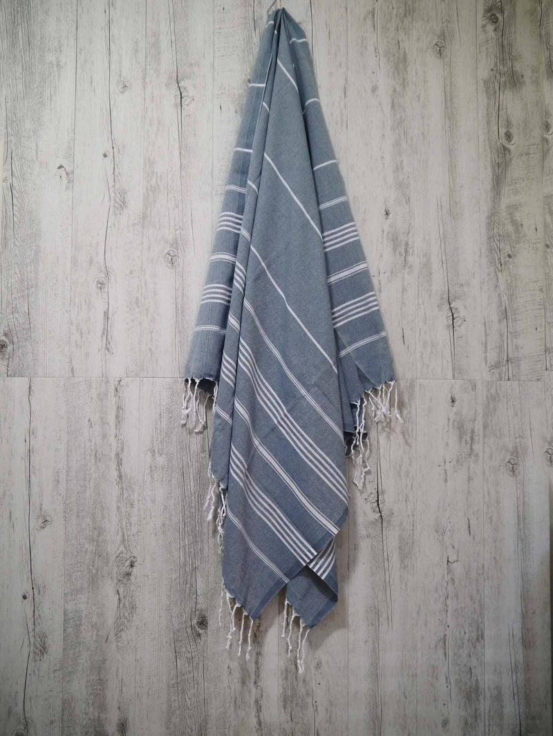 Turkish Towel Cotton Classic Striped Teal