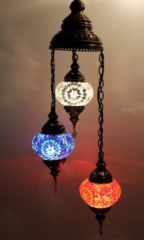 Turkish chandeliers white red blue colour