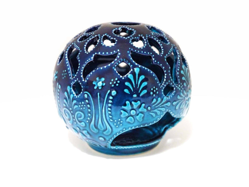 Turkish ceramic candle holder turquoise