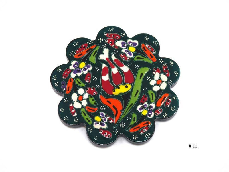 Turkish Coasters Flower Collection Green