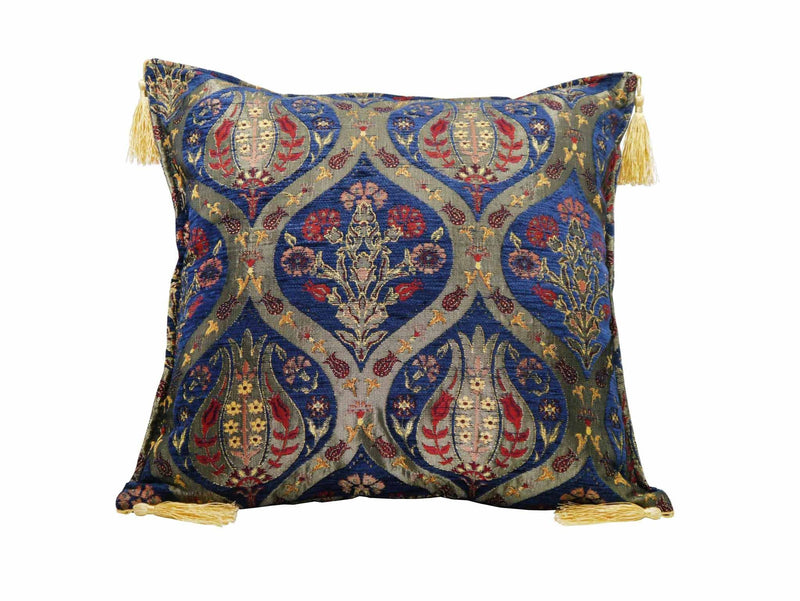 Turkish Cushion Cover Tulip Carnation Blue