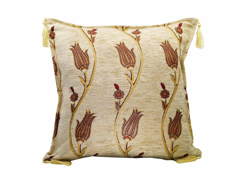 Turkish Cushion Cover Tulip Collection Beige
