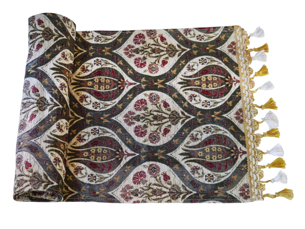 Turkish Table Runner Tulip Carnation Beige