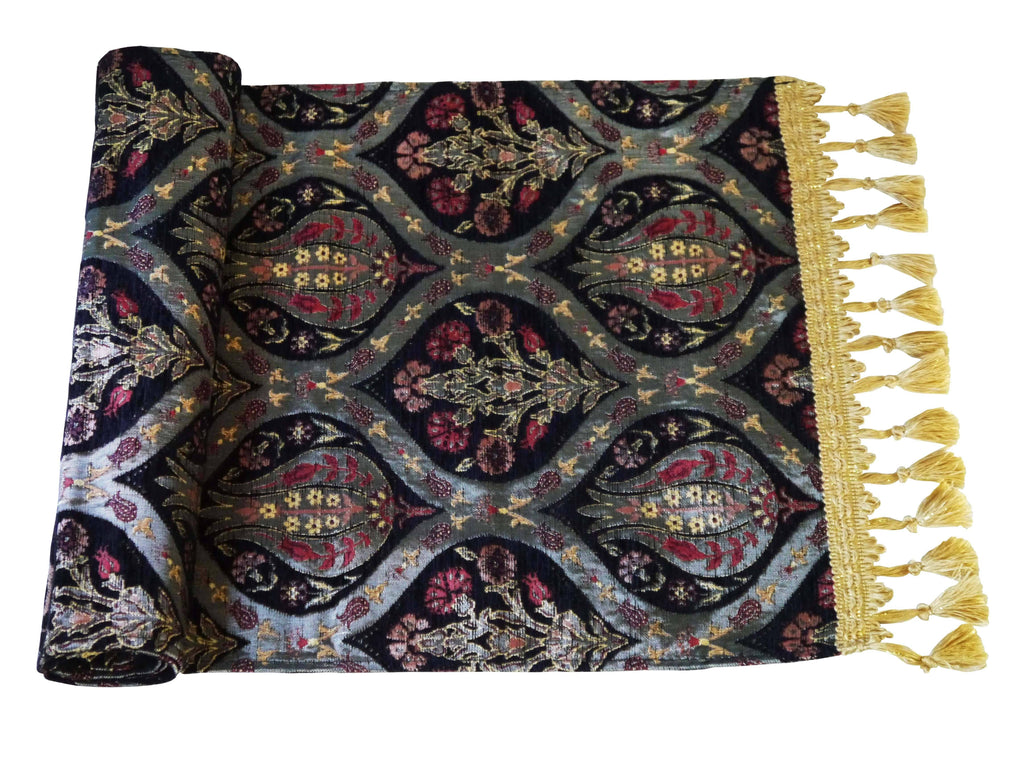 Turkish Table Runner Tulip Carnation Black