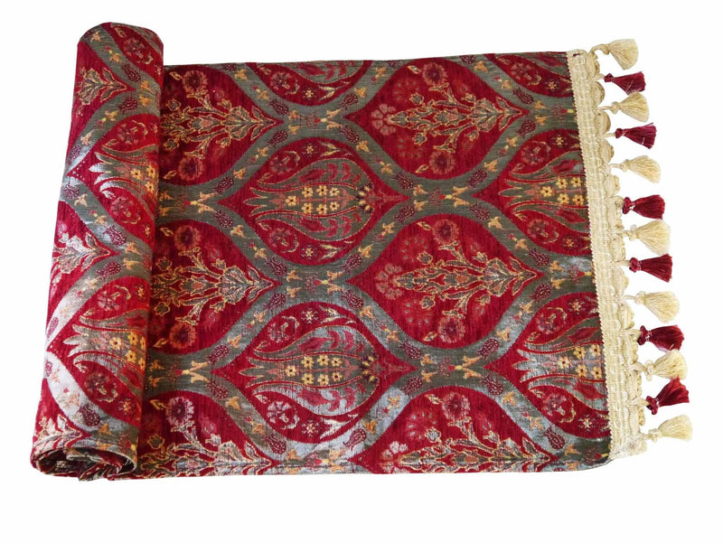 Turkish Table Runner Tulip Carnation Red