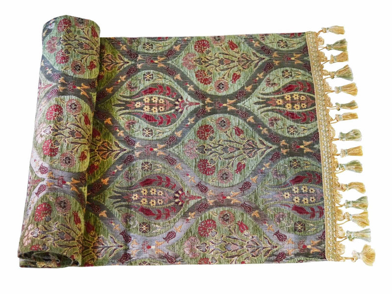 Turkish Table Runner Tulip Carnation Green