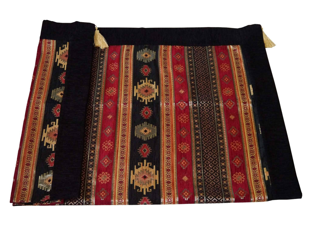 Turkish tablecloth aztec black red